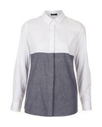 TOPSHOP White Chambray Mix Shirt