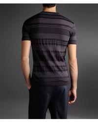 Emporio Armani Gray Tshirt with Contrasting Tone On Tone Stripe for men