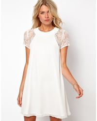 Love | White Swing Dress with Lace Insert | Lyst