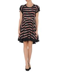 See By Chloé Black Striped Short-sleeve High-low Dress