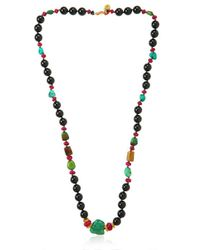 Aaron Jah Stone Green Golden Mala Necklace for men