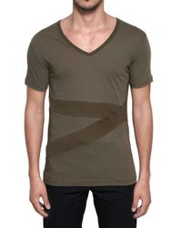 Adidas SLVR Green Cotton Jersey Banded Tshirt for men