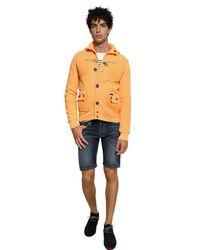 Bark Orange Linen Blend Tricot Hooded Casual Jacket for men