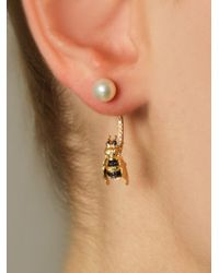 Delfina Delettrez | Metallic Diamond, Sapphire & Pearl Bee Single Earring | Lyst