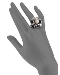 Di Modolo | Black Icona Diamond Pearl Onyx Cluster Ring | Lyst