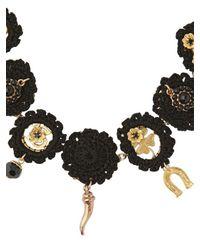 Dolce & Gabbana - Black Macramé Cotton Lucky Charm Necklace - Lyst