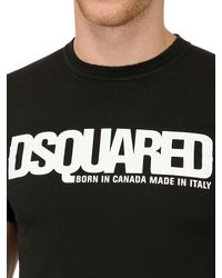DSquared² Black Dsquared Logo Dyed Cotton Jersey Tshirt for men