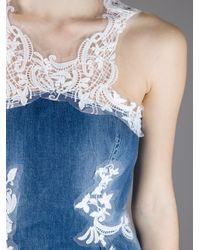Ermanno Scervino - Blue Denim Fitted Midi Dress - Lyst