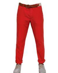 Folk Red 17cm Linen Cotton Canvas Trousers for men