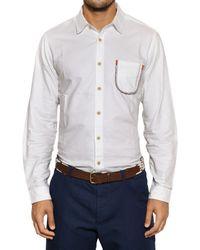 Folk White Cotton Poplin Drawcord Detail Shirt for men