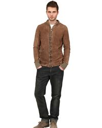 Giorgio Brato Brown Vegetable Treated Crust Leather Jacket for men