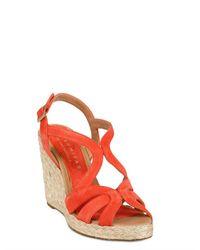 Palomitas By Paloma Barcelo' Orange 110mm Suede Rope Sandal Wedges