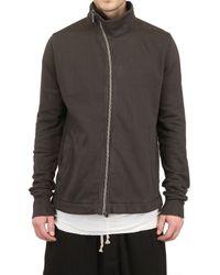 Rick Owens Gray Distressed Cotton Fleece Sweatshirt for men