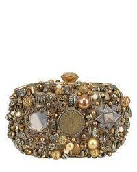 Sarah's Bag Metallic Diamond Solid Box Clutch