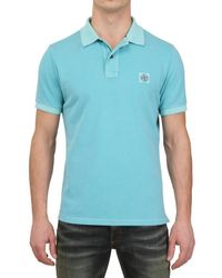 Stone Island Blue Slim Fit Washed Cotton Piquet Polo for men