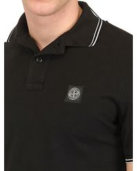 Stone Island Black Slim Fit Cotton Piquet Stretch Polo for men
