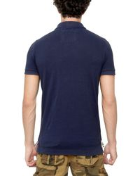 Superdry Blue Embroidered Cotton Piquet Polo for men