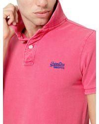 Superdry Pink Vintage Destroyed Cotton Piquet Polo for men
