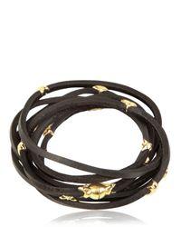Tomasz Donocik Black Gold Stars Leather Wrap Bracelet