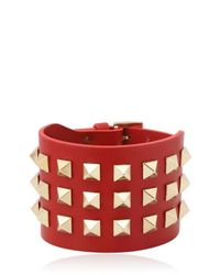 Valentino | Red Large Rockstud Leather Bracelet | Lyst