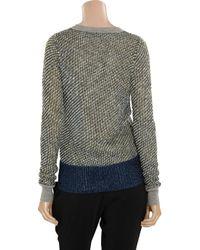 Alexander Wang Gray Metallic Bouclã and Mesh Sweater