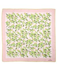Brooks Brothers Pink Silk Sparrow Square Scarf
