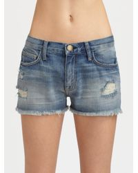 Current/Elliott - Blue Denim Shorts - Lyst