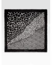 Gucci Black Safari Print Silk Shawl Scarf