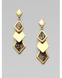 Kara Ross | Metallic 14k Goldplated Snake Skin Inlaid Earring | Lyst