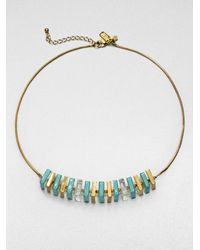 kate spade new york - Green Square Beaded Necklace - Lyst