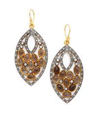 Kevia - Metallic Smoky Quartz Double Marquis Earrings - Lyst