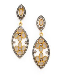 Kevia - Metallic Tiered Marquis Moonstone Earrings - Lyst