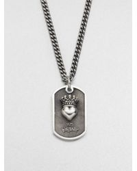 King Baby Studio | Metallic Small Crowned Heart Dog Tag Necklace | Lyst