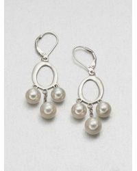 Majorica Metallic 7mm8mm White Round Pearl Drop Earrings