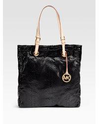 MICHAEL Michael Kors | Black Python Embossed Leather Tote | Lyst