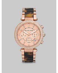 Michael Kors | Brown Parker Pavé Rose Goldtone Stainless Steel & Tortoise-print Acetate Chronograph Bracelet Wat | Lyst