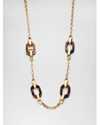 Michael Kors Brown Tortoise Print Link Necklace