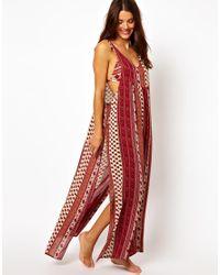 MINKPINK - Red Maya Scarf Print Beach Maxi Dress - Lyst