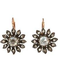 Olivia Collings Brown Paste Floral Earrings