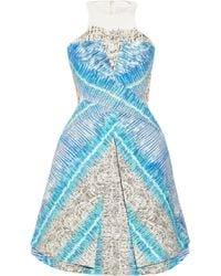Peter Pilotto | Blue Compass Printed Cotton-blend Dress | Lyst