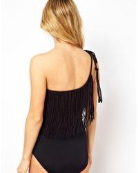 Seafolly   Black Jazz Club Asymmetrical Swimsuit   Lyst