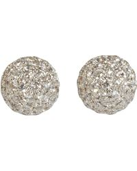 Shamballa Jewels | White Pave Diamond Ball Stud Earrings | Lyst