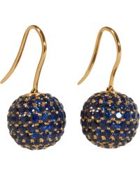 Shamballa Jewels Yellow Pave Sapphire Ball Drop Earrings
