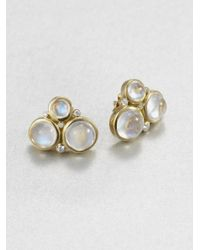 Temple St. Clair | Metallic Royal Blue Moonstone, Diamond & 18k Yellow Gold Cluster Button Earrings | Lyst