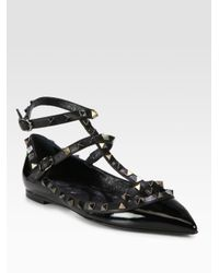 Valentino Black Rockstud Patent Leather Tstrap Flats