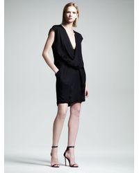 Alexander Wang Black Womens Draped Pocket Dress