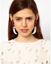 ASOS Collection | Metallic Bee Horn Earrings | Lyst