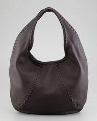 Bottega Veneta Black Cervo Leather Hobo Bag Espresso