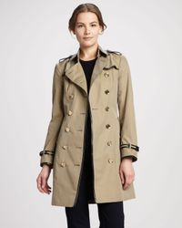 Burberry Natural Patenttrim Gabardine Trenchcoat