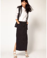 Cheap Monday Black Denim Maxi Skirt with Side Splits